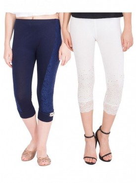 American-Elm Women Combo of 2 Cotton Viscose Capri- Dark Blue Off White