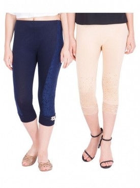 American-Elm Women Pack of 2 Three Fourth Capri- Dark Blue Cream