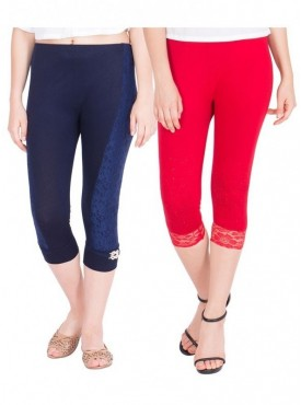 American-Elm Women Pack of 2 Three Fourth Viscose Capri- Dark Blue Red