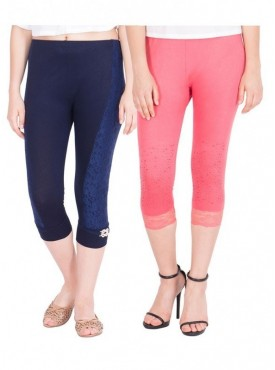 American-Elm Pack of 2 Women Cotton Viscose Capri- Dark Blue Pink