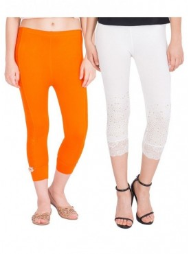 American-Elm Women Combo of 2 Cotton Viscose Capri- Orange Off White