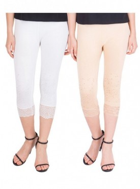 American-Elm Pack of 2 Women Cotton Viscose Capri- White Cream