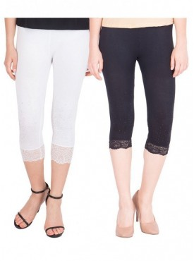 American-Elm Women Combo of 2 Cotton Viscose Capri- White Black