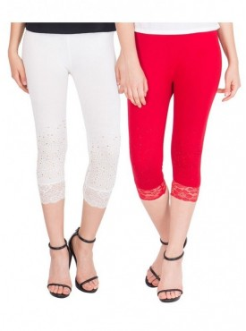 American-Elm Women Pack of 2 Three Fourth Capri- Off White Red