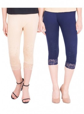 American-Elm Women Pack of 2 Three Fourth Capri- Cream Dark Blue