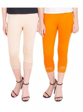 American-Elm Women Pack of 2 Three Fourth Viscose Capri- Cream Orange
