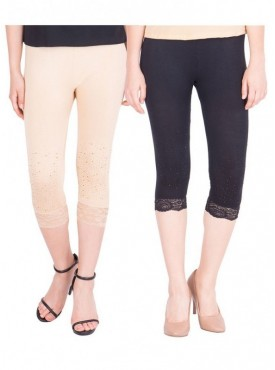 American-Elm Women Pack of 2 Cotton Viscose 3-4th Capri- Cream Black