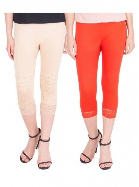 American-Elm Pack of 2 Women Cotton Viscose Capri- Cream Dark Orange