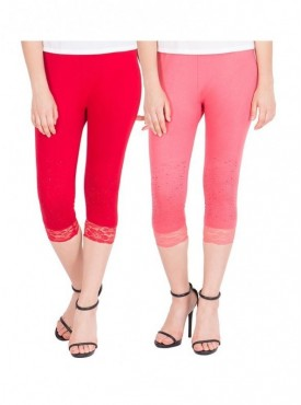 American-Elm Women Pack of 2 Three Fourth Viscose Capri- Red Pink