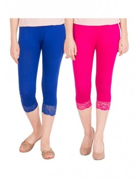 American-Elm Women Pack of 2 Cotton Viscose 3-4th Capri- Blue Rani Pink