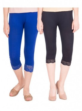 American-Elm Women Combo of 2 Cotton Viscose Capri- Blue Black