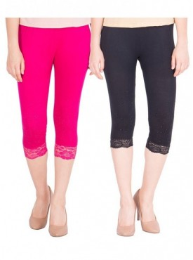 American-Elm Women Pack of 2 Cotton Viscose 3-4th Capri- Rani Pink Black