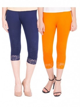American-Elm Pack of 2 Women Cotton Viscose Capri- Dark Blue Orange