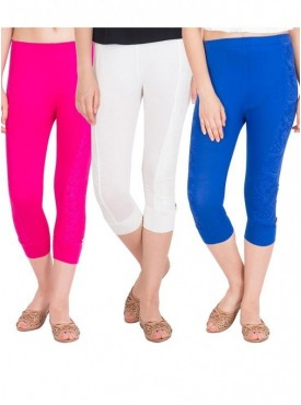 American-Elm Women Pack of 3 Cotton Viscose 3-4th Capri- Off White Red Royal Blue