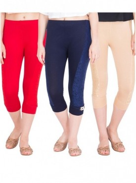 American-Elm Pack of 3 Women Cotton Viscose Capri- Beige Red Dark Blue
