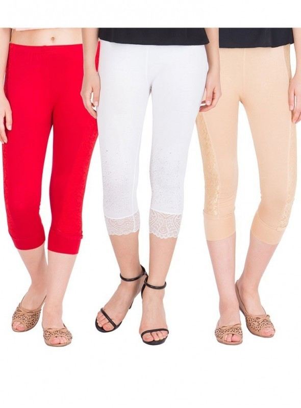 American-Elm Pack of 3 Women Cotton Viscose 3-4th Capri- Beige Red White