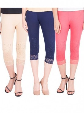 American-Elm Women Set of 3 Cotton Viscose 3-4th Capri- Cream Dark Blue Pink