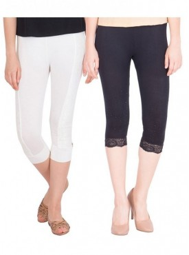 American-Elm Pack of 2 Women Cotton Viscose Capri- Off White Black
