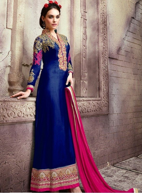 India Emporium Georgette Royal Blue Color Suits