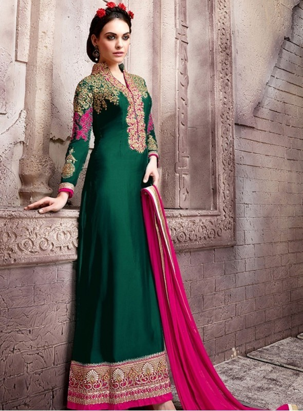 India Emporium Georgette Green Color Suits