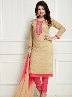 India Emporium Chanderi Beige Color Suits