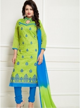 India Emporium Chanderi Cyan Blue Color Suits