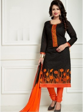 India Emporium Chanderi Black Color Suits
