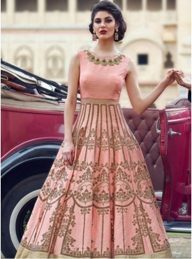 India Emporium Banglori Silk Peach Color Gown