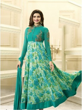 India Emporium Georgette Teal Green Color Suits