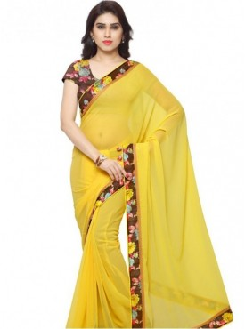 India Emporium Georgette Yellow Color Saree