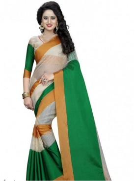 India Emporium Cotton Green Color Saree