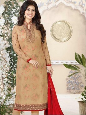 India Emporium Georegtte Beige Brown Color Suits