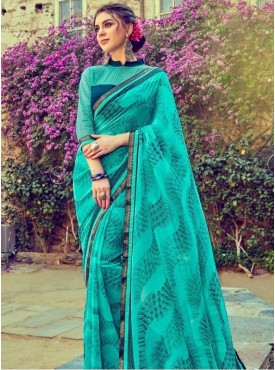 India Emporium Georgette Turquoise Color Suits