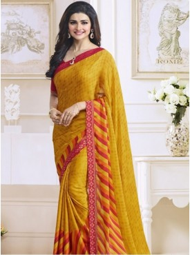 India Emporium Georgette Mustard Color saree