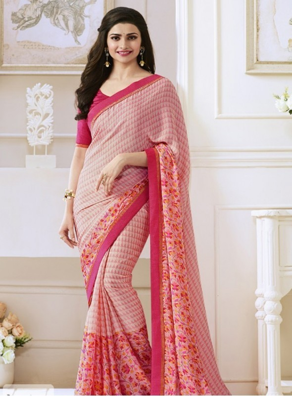 India Emporium Georgette Pink Color saree