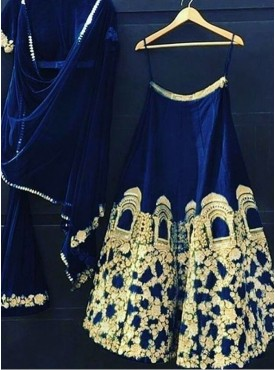 India Emporium Silk Blue Color Lehenga