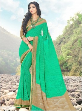 India Emporium Georgette Teal Green Color saree