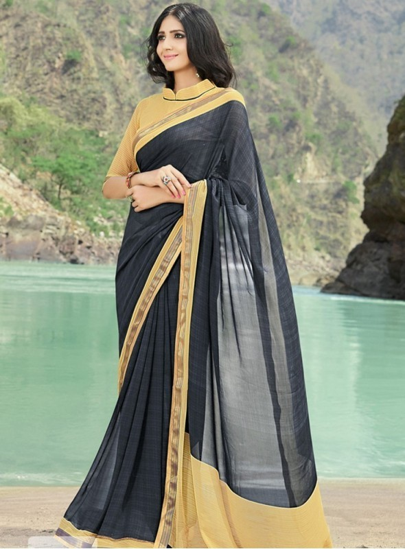 India Emporium Georgette Black Color saree