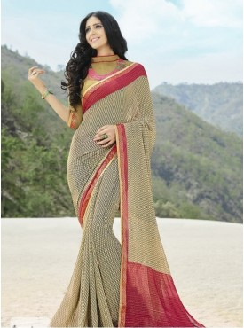 India Emporium Georgette Cream Color saree