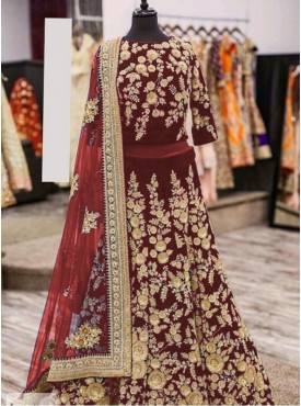 India Emporium Viscose Maroon Color Lehenga