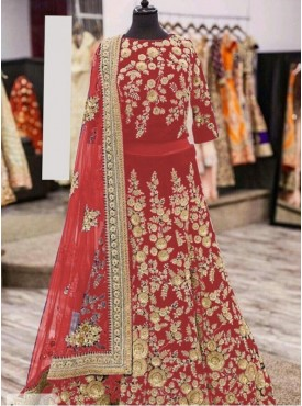 India Emporium Viscose Red Color Lehenga