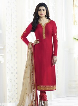 India Emporium Georgette Red Color Suits