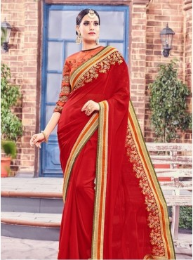India Emporium Georgette Red Color Saree