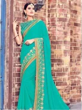 India Emporium Georgette Turquoise Color Saree