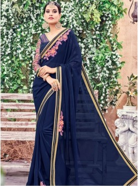 India Emporium Georgette Navy Blue Color Saree