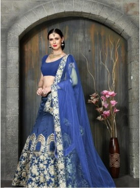 India Emporium Silk Royal Blue Color Lehenga