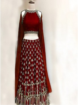 India Emporium Silk Maroon Color Lehenga