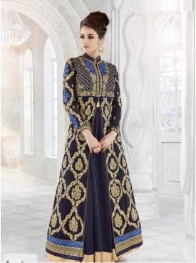 India Emporium Georgette Navy Blue Color Suits