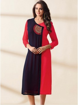 India Emporium Georgette Navy Blue Color Kurti