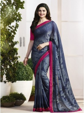 India Emporium Georgette Gray Color Saree